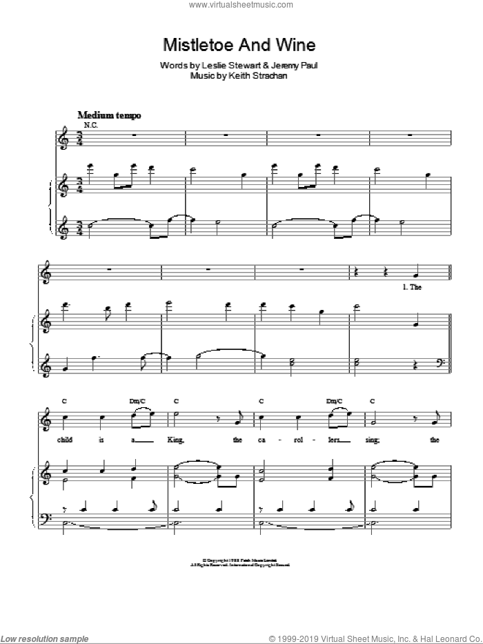 Mistletoe And Wine sheet music for voice and piano by Cliff Richard, intermediate. Score Image Preview.
