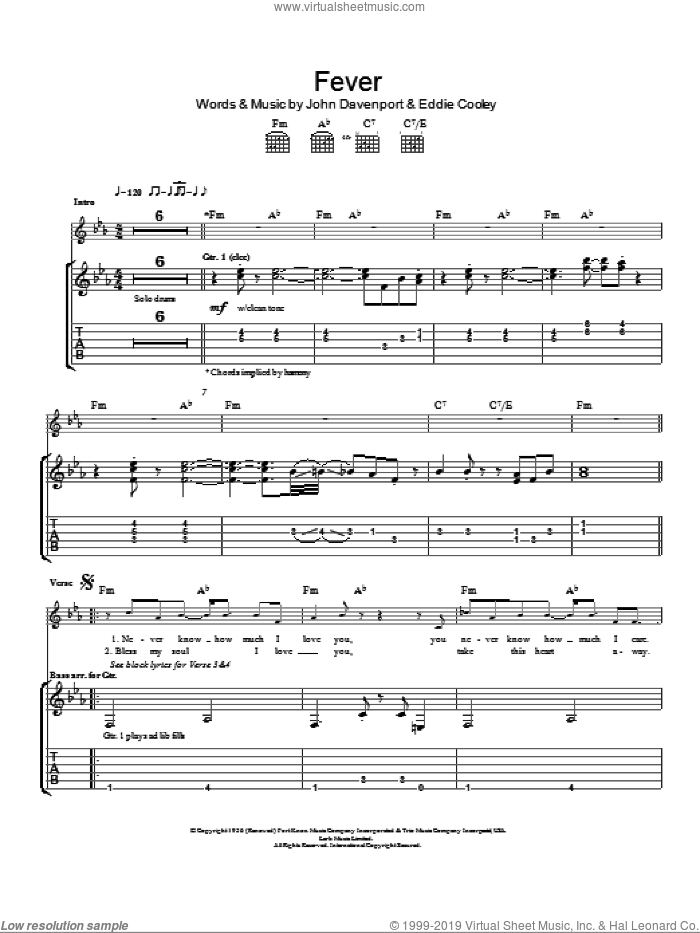 Fever sheet music for guitar (tablature) by Eva Cassidy, Peggy Lee, Eddie Cooley and John Davenport, intermediate skill level
