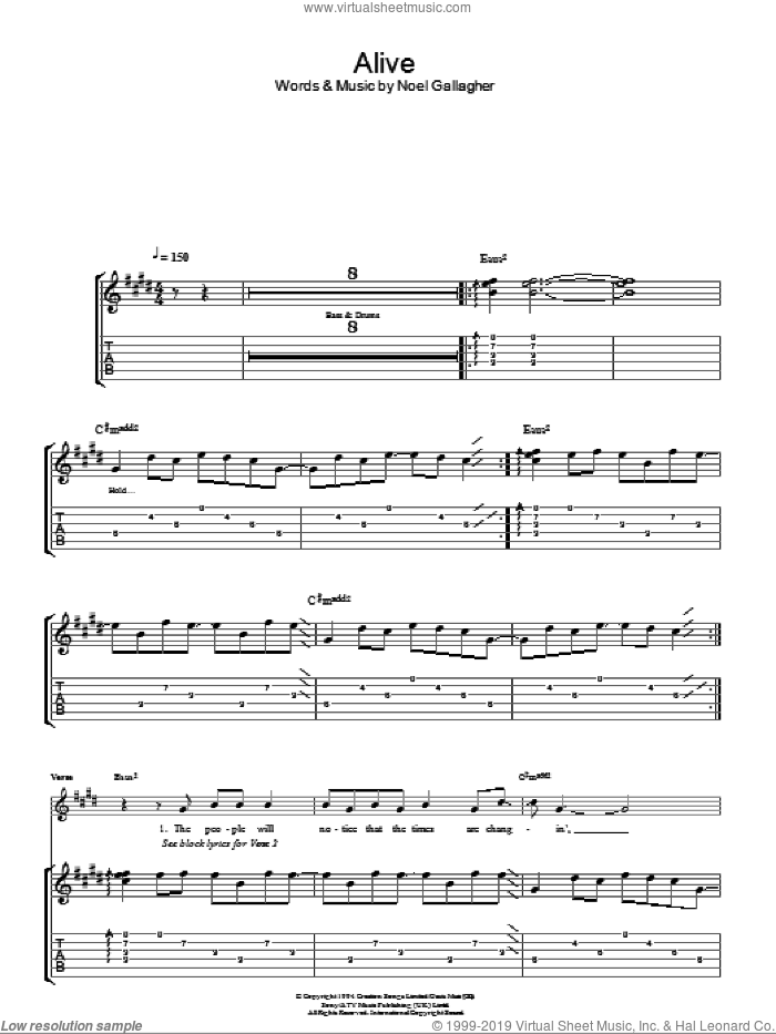 Alive sheet music for guitar (tablature) by Noel Gallagher and Oasis
