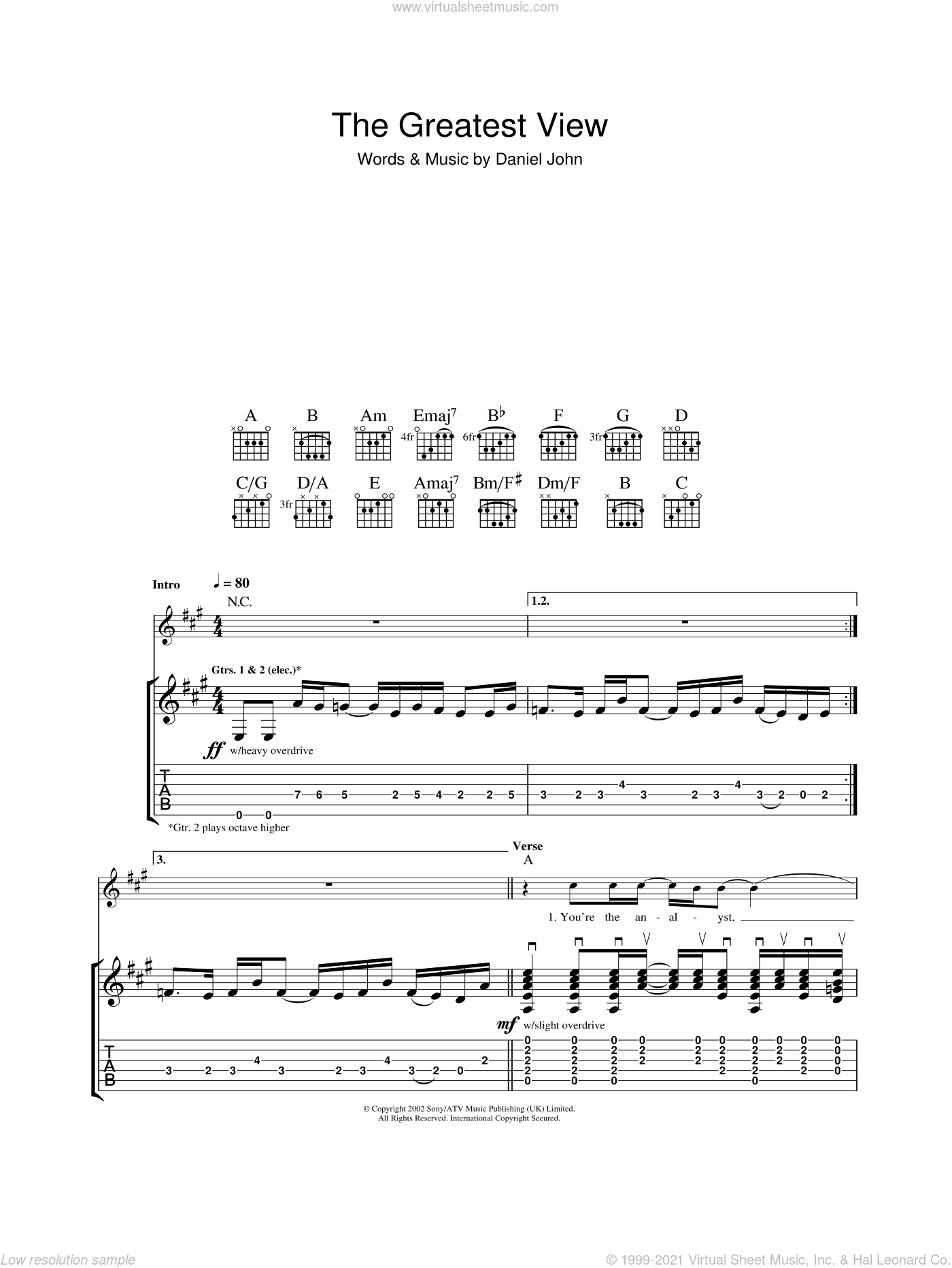 The Greatest View sheet music for guitar (tablature) by Daniel Johns