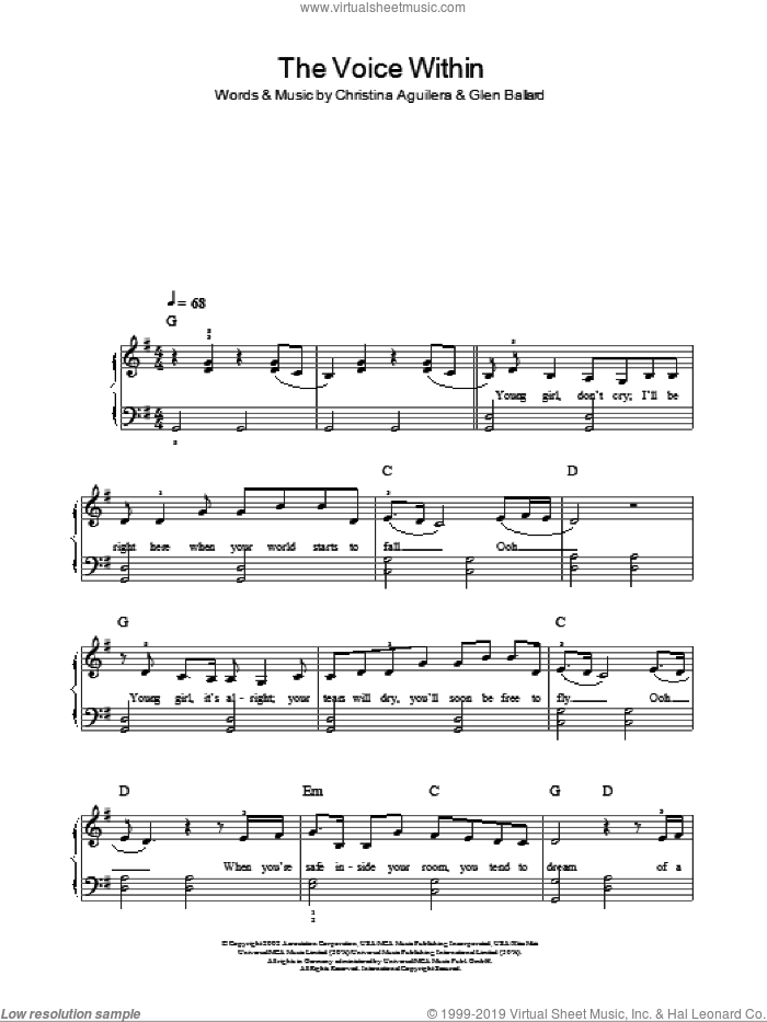 The Voice Within sheet music for piano solo by Glen Ballard and Christina Aguilera. Score Image Preview.