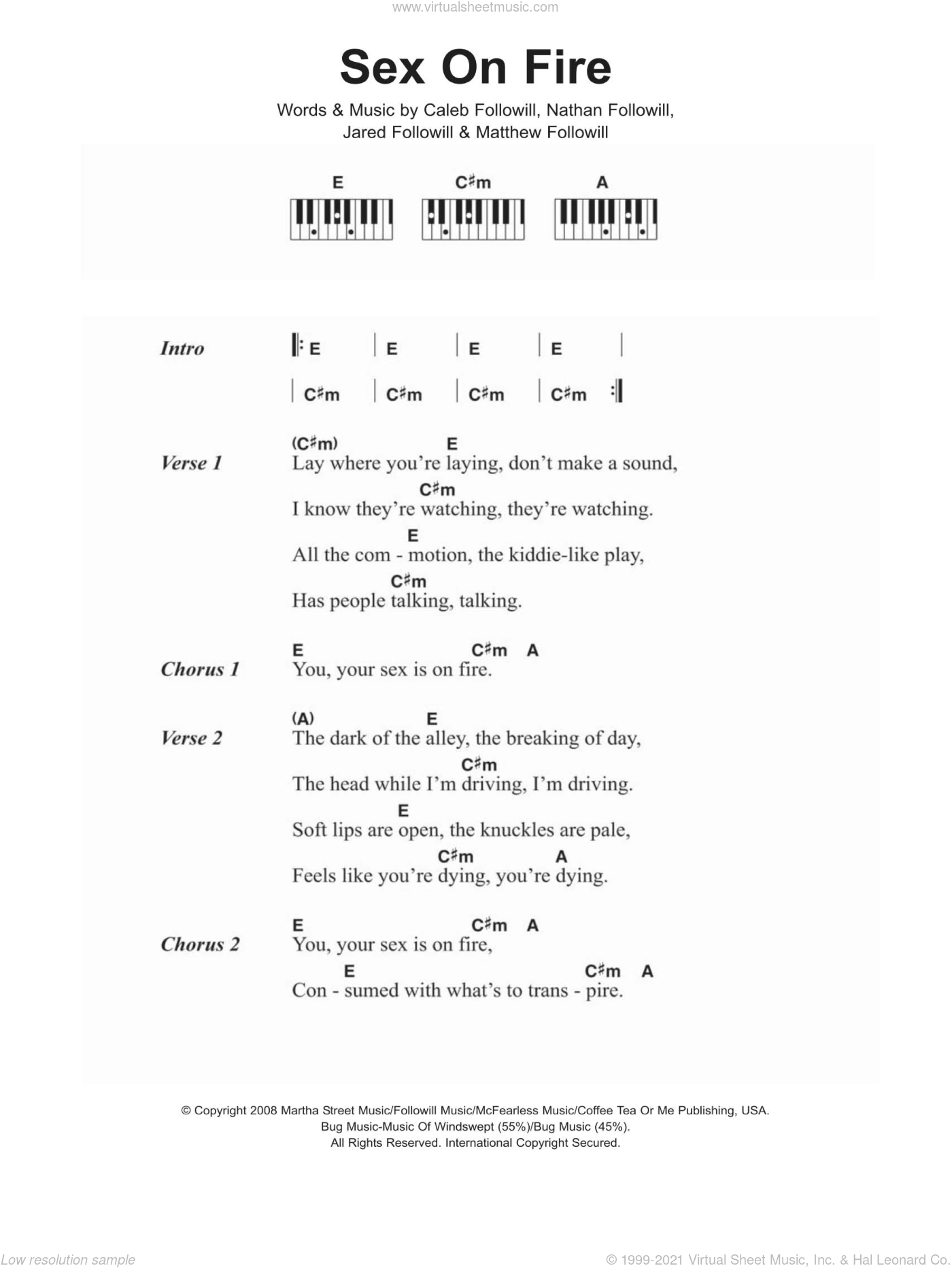 Sex On Fire sheet music for piano solo (chords, lyrics, melody) by Nathan Followill