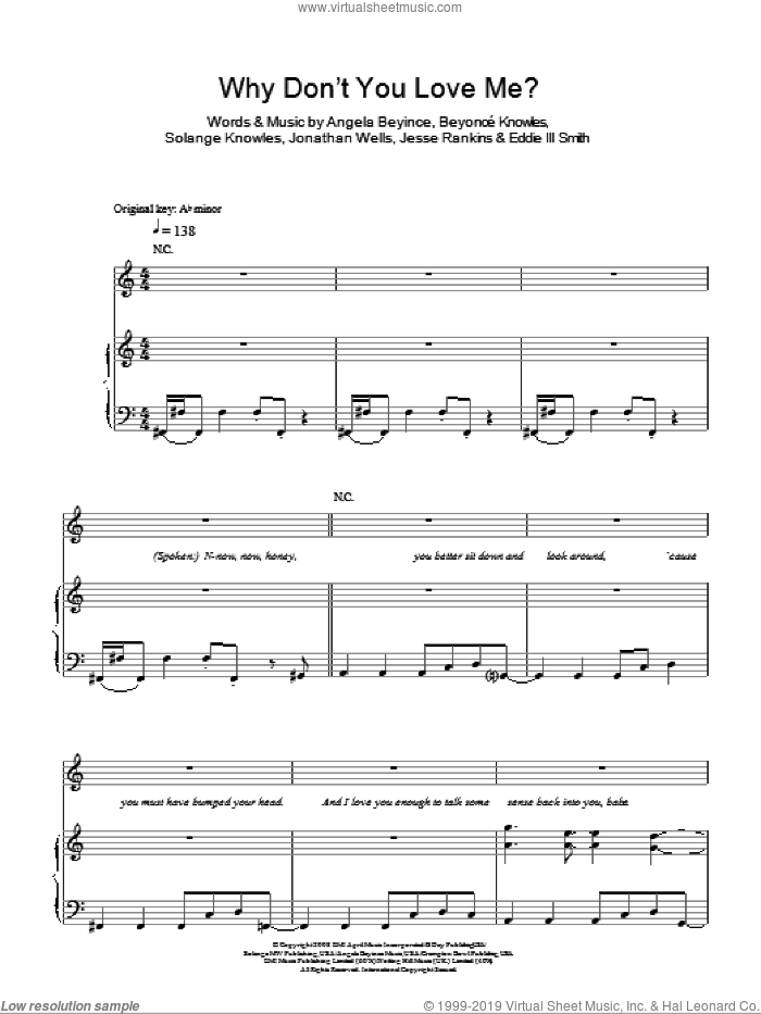 Why Don't You Love Me sheet music for voice, piano or guitar by Beyonce, Angela Beyince, Eddie III Smith, Jesse Rankins, Jonathan Wells and Solange Knowles, intermediate skill level