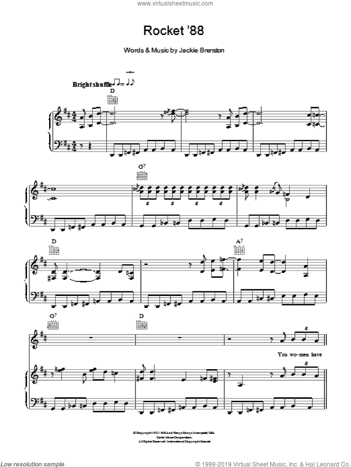 Rocket '88 sheet music for voice, piano or guitar by Ike Turner and Jackie Brenston, intermediate voice, piano or guitar. Score Image Preview.