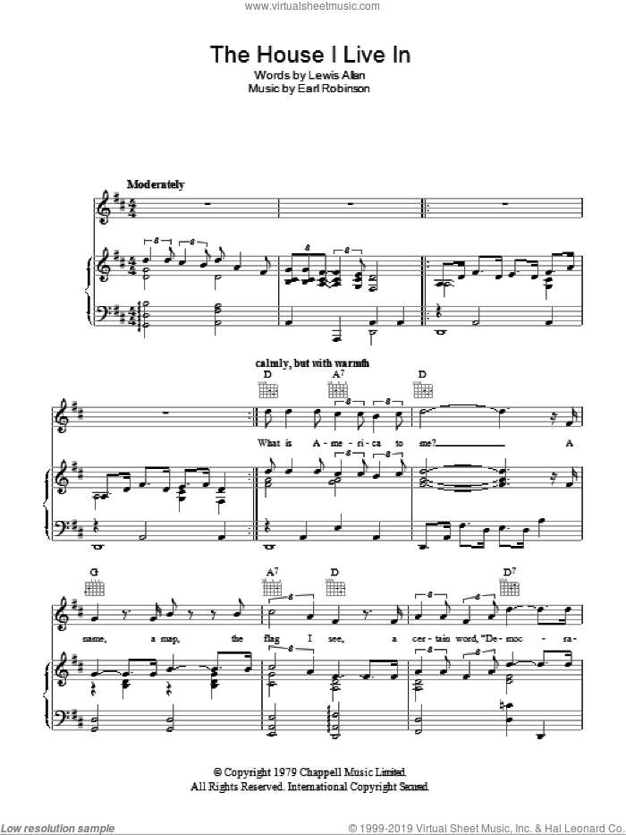 The House I Live In sheet music for voice, piano or guitar by Paul Robeson, Earl Robinson and Lewis Allan, intermediate voice, piano or guitar. Score Image Preview.