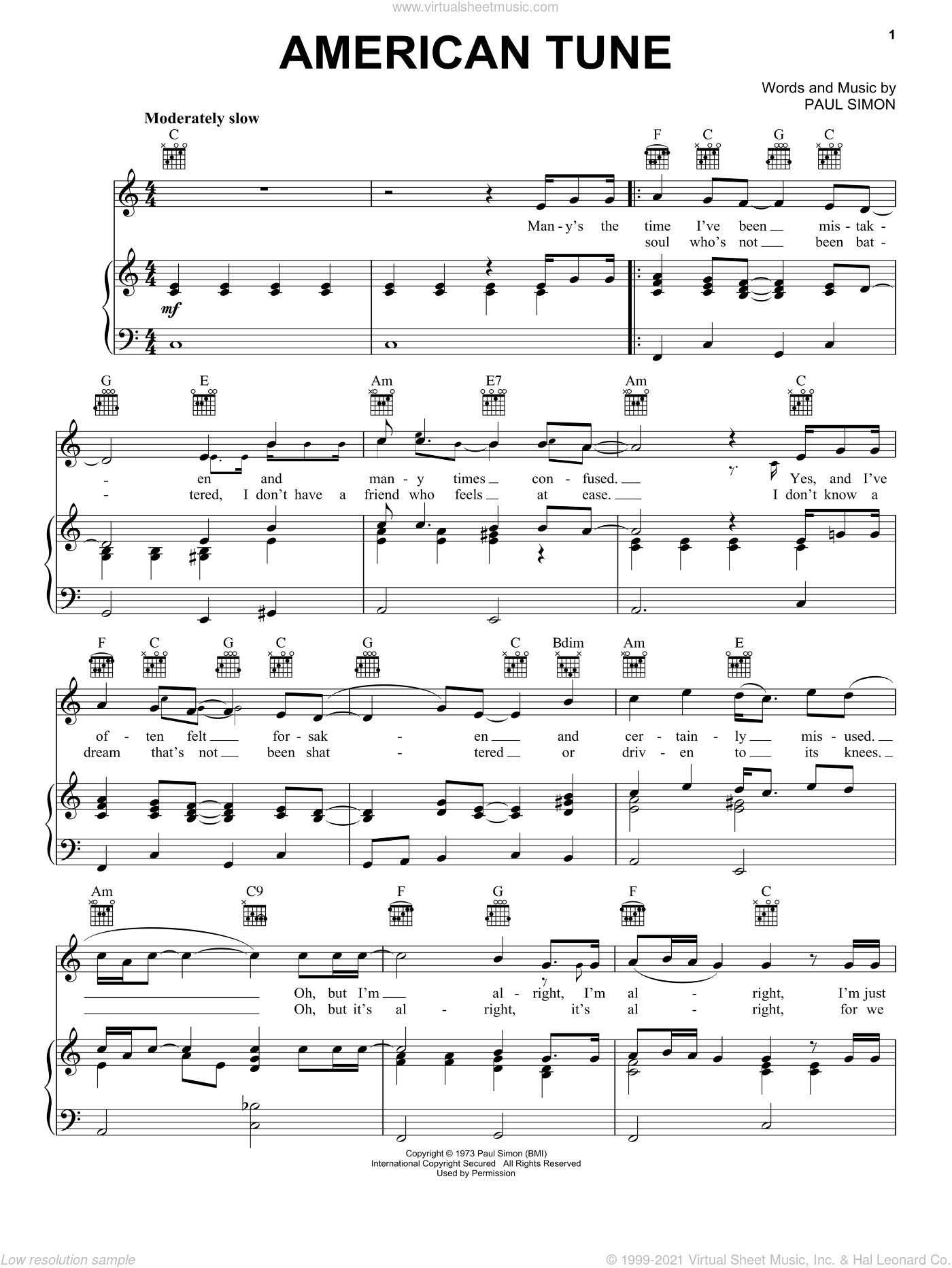 American Tune sheet music for voice, piano or guitar by Paul Simon, intermediate skill level