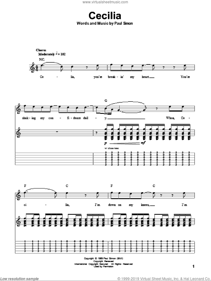 Cecilia sheet music for guitar (tablature, play-along) by Simon & Garfunkel and Paul Simon. Score Image Preview.