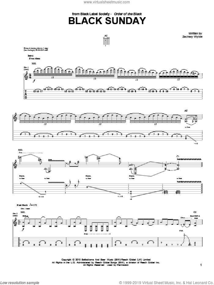 Black Sunday sheet music for guitar (tablature) by Black Label Society and Zakk Wylde, intermediate