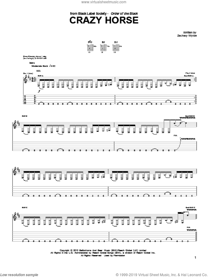 Crazy Horse sheet music for guitar (tablature) by Black Label Society and Zakk Wylde, intermediate. Score Image Preview.