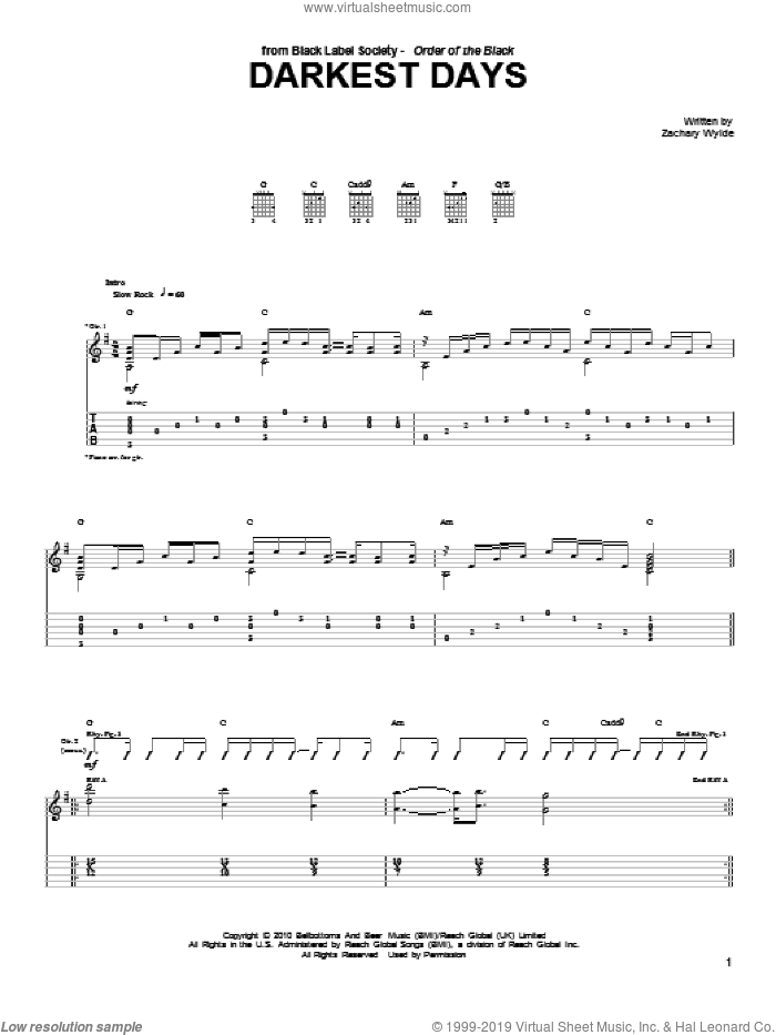 Darkest Days sheet music for guitar (tablature) by Black Label Society and Zakk Wylde. Score Image Preview.