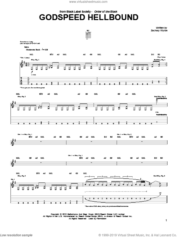Godspeed Hellbound sheet music for guitar (tablature) by Black Label Society and Zakk Wylde. Score Image Preview.