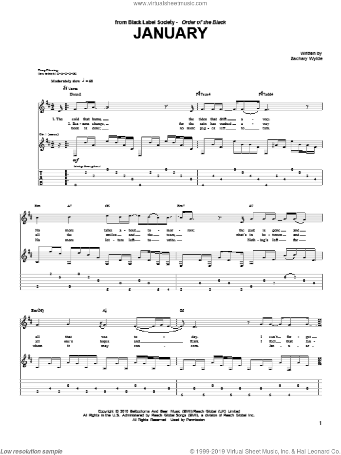 January sheet music for guitar (tablature) by Black Label Society and Zakk Wylde. Score Image Preview.