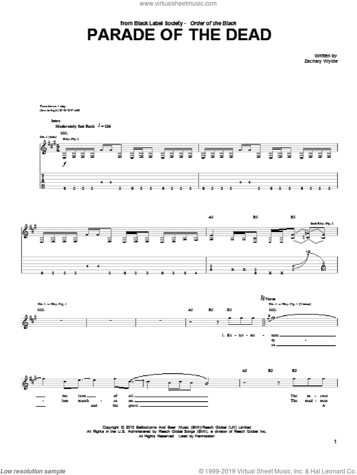 Parade Of The Dead sheet music for guitar (tablature) by Black Label Society and Zakk Wylde, intermediate. Score Image Preview.