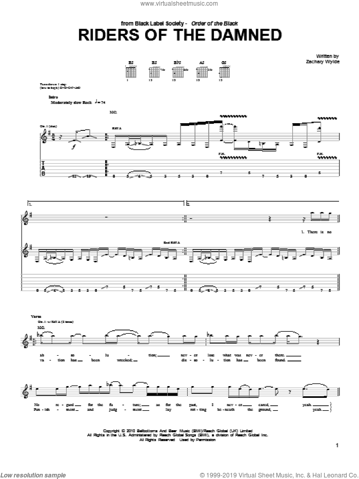 Riders Of The Damned sheet music for guitar (tablature) by Black Label Society and Zakk Wylde, intermediate guitar (tablature). Score Image Preview.