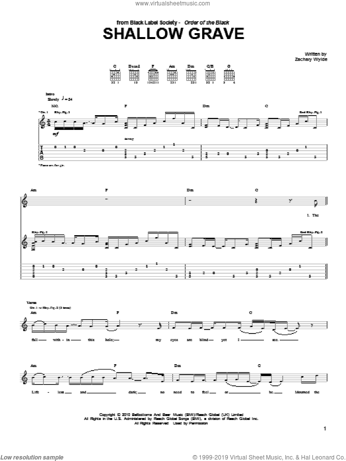 Shallow Grave sheet music for guitar (tablature) by Black Label Society