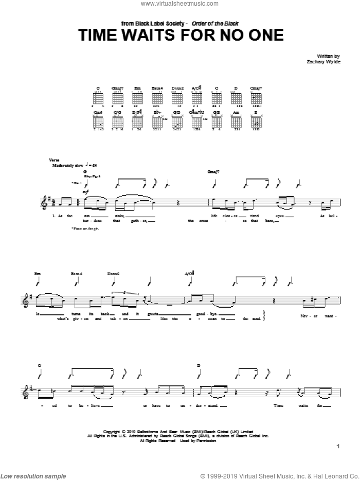Time Waits For No One sheet music for guitar (tablature) by Black Label Society and Zakk Wylde. Score Image Preview.