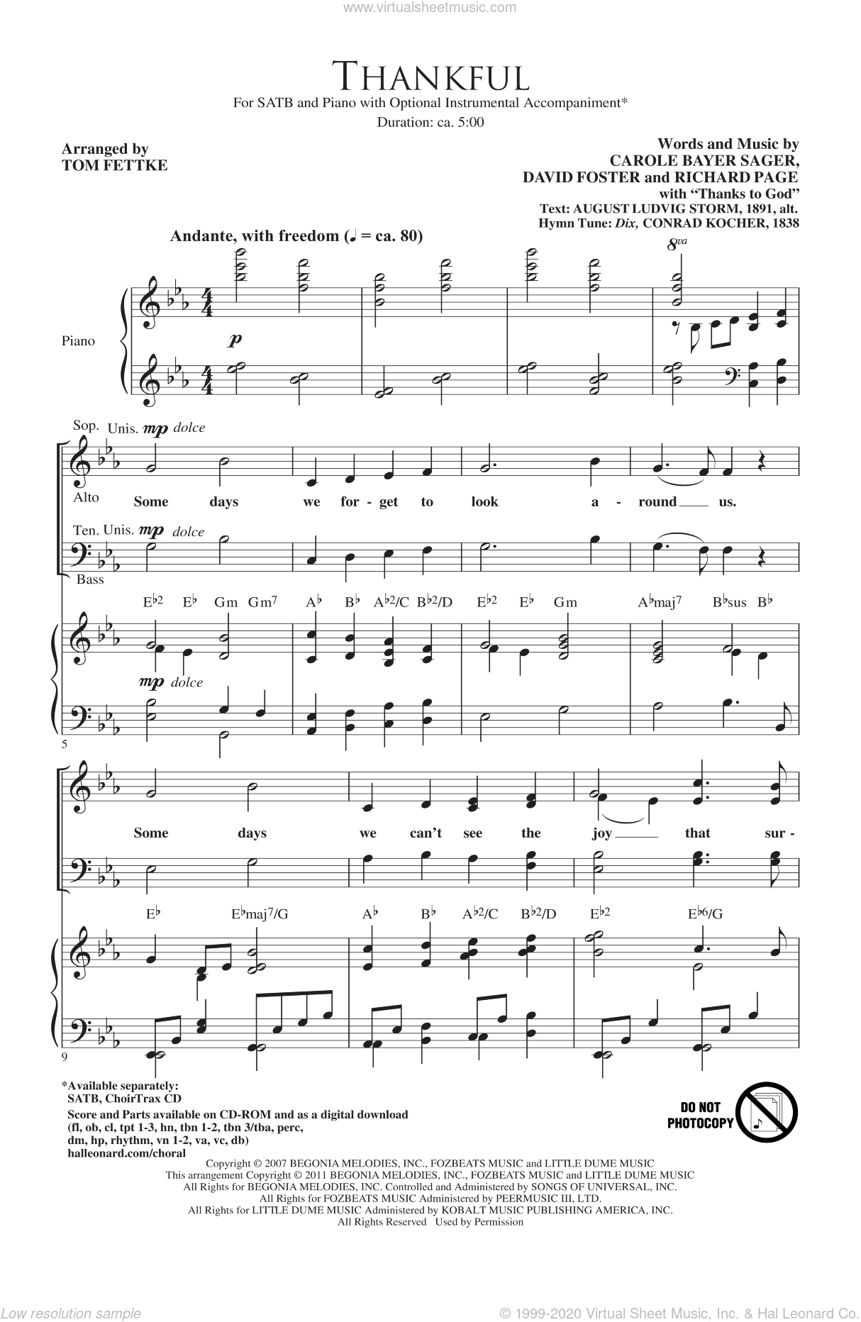 Thankful sheet music for choir and piano (SATB) by Carole Bayer Sager, David Foster, Josh Groban, Richard Page and Tom Fettke. Score Image Preview.