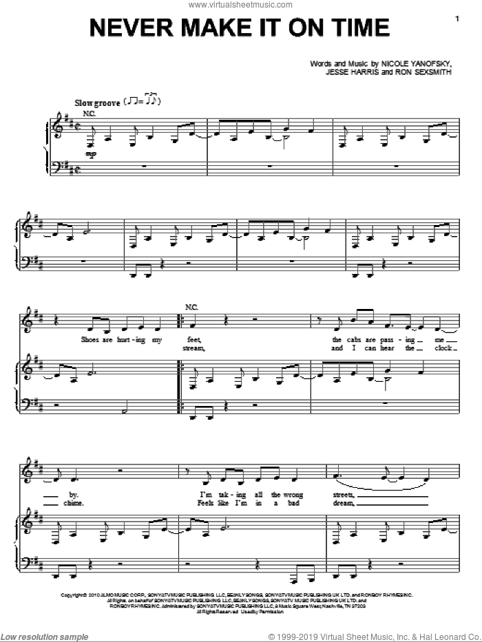 Never Make It On Time sheet music for voice and piano by Nikki Yanofsky and Ron Sexsmith, intermediate voice