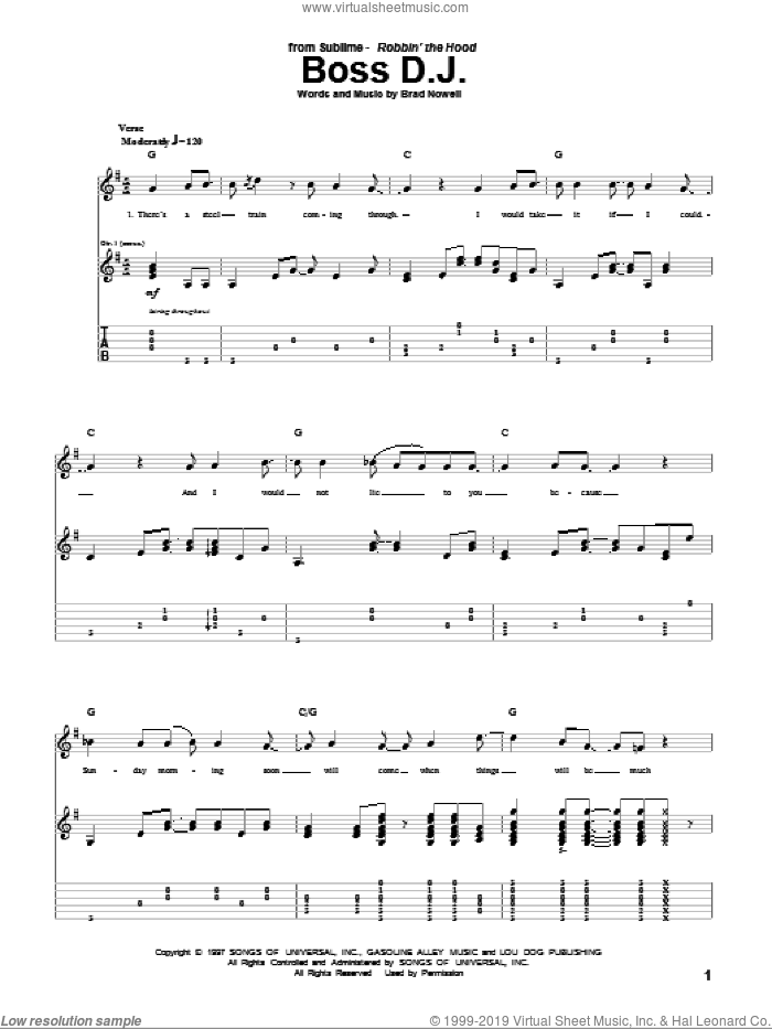 Boss D.J. sheet music for guitar (tablature) by Sublime and Brad Nowell, intermediate skill level