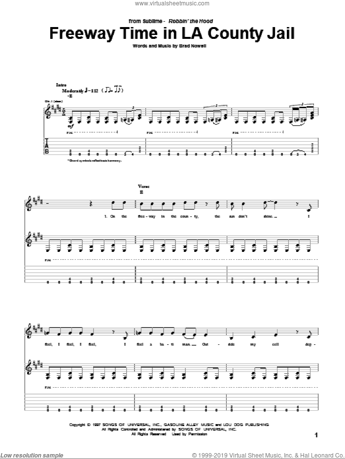Freeway Time In LA County Jail sheet music for guitar (tablature) by Brad Nowell and Sublime. Score Image Preview.