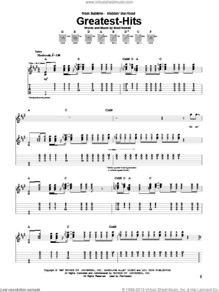 Greatest-Hits sheet music for guitar (tablature) by Brad Nowell and Sublime. Score Image Preview.
