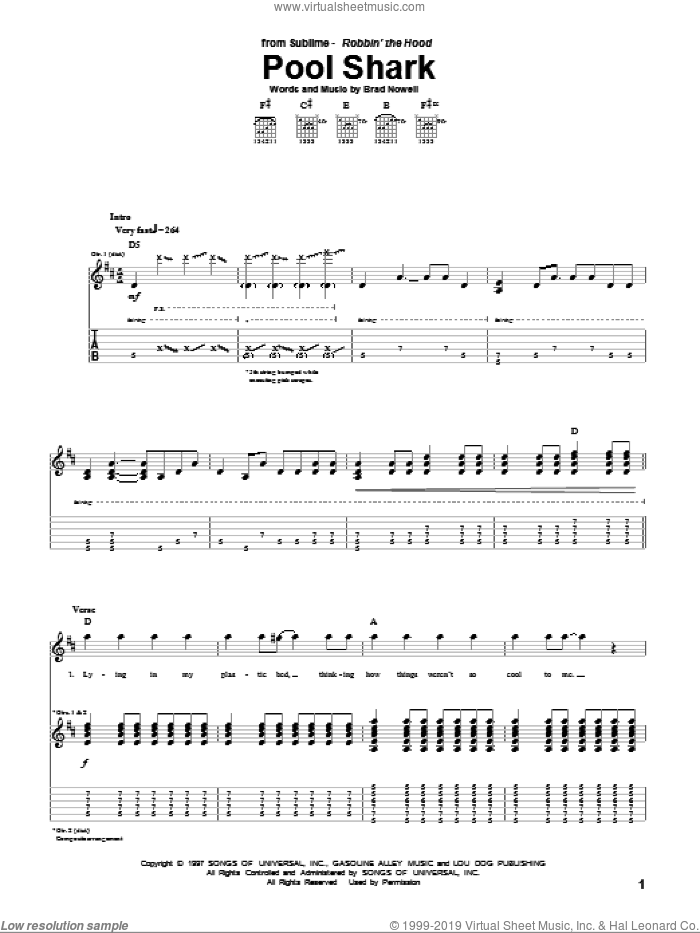 Pool Shark sheet music for guitar (tablature) by Sublime and Brad Nowell. Score Image Preview.