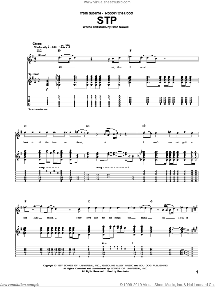 STP sheet music for guitar (tablature) by Sublime and Brad Nowell. Score Image Preview.