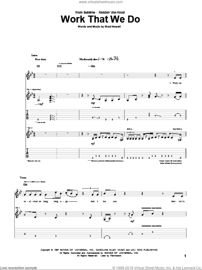 Work That We Do sheet music for guitar (tablature) by Sublime and Brad Nowell. Score Image Preview.