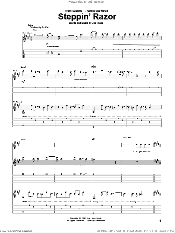 Steppin' Razor sheet music for guitar (tablature) by Sublime, Peter Tosh and Joe Higgs, intermediate. Score Image Preview.