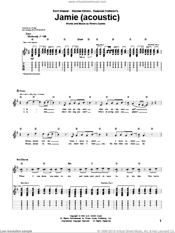 Jamie (Acoustic Version) sheet music for guitar (tablature) by Weezer, intermediate guitar (tablature). Score Image Preview.
