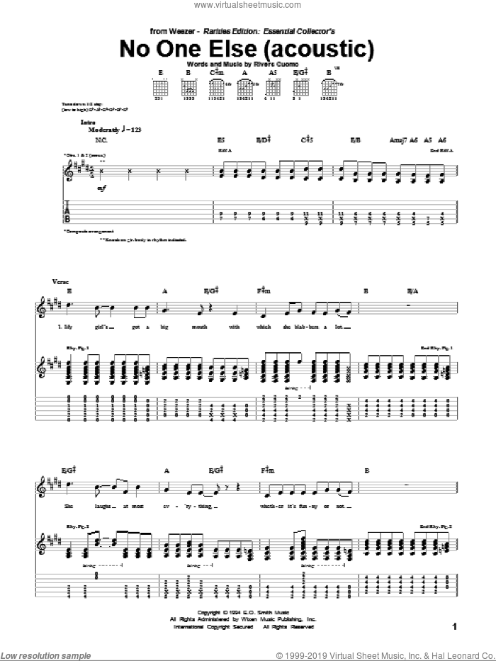 No One Else sheet music for guitar (tablature) by Weezer, intermediate. Score Image Preview.