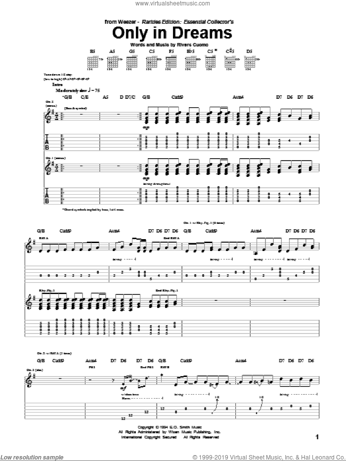 Only In Dreams sheet music for guitar (tablature) by Rivers Cuomo and Weezer. Score Image Preview.