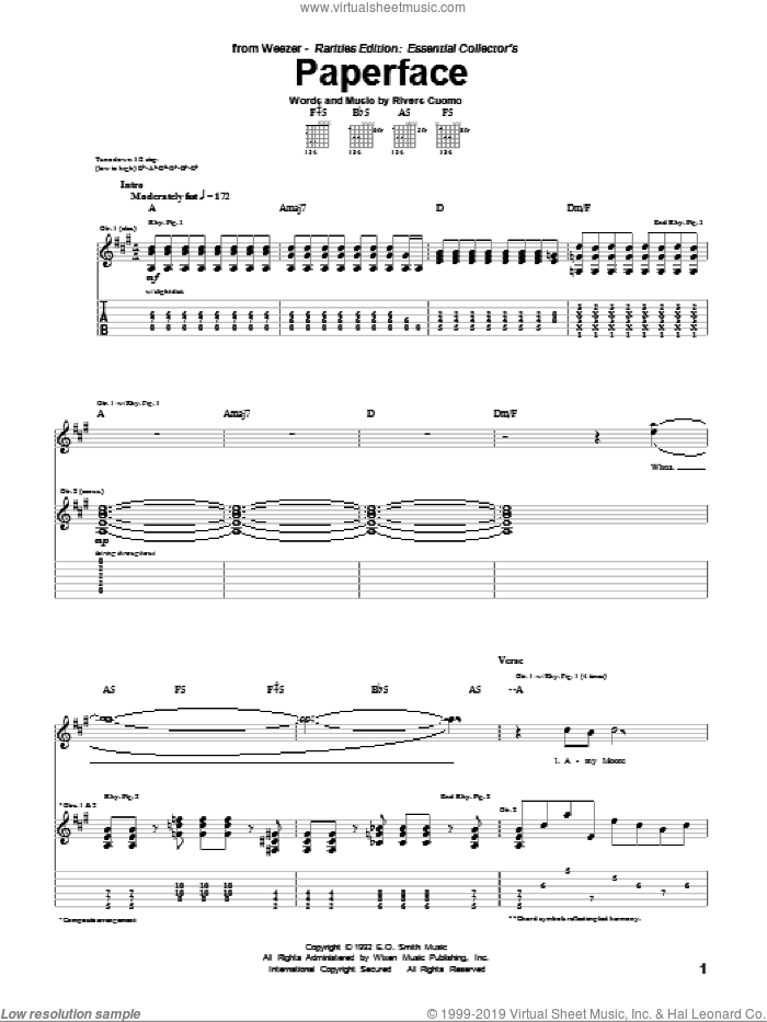 Paperface sheet music for guitar (tablature) by Rivers Cuomo