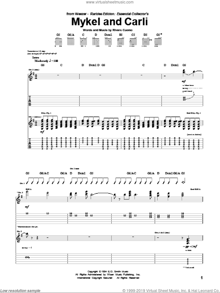 Mykel And Carli sheet music for guitar (tablature) by Rivers Cuomo