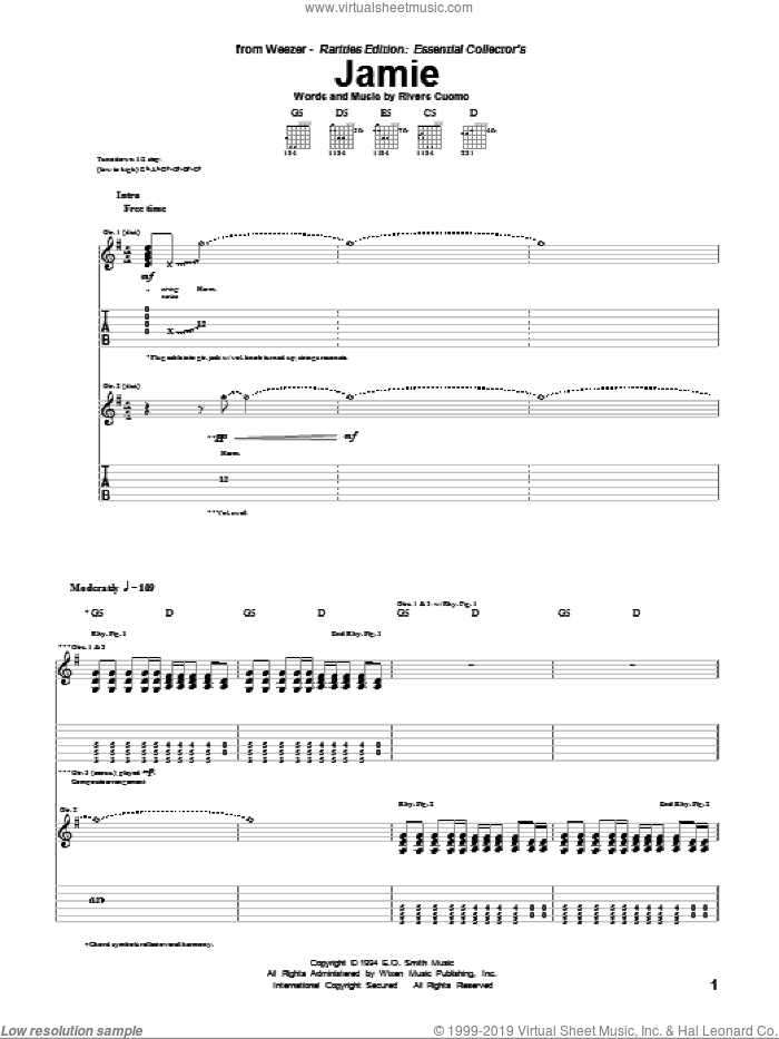 Jamie sheet music for guitar (tablature) by Rivers Cuomo and Weezer. Score Image Preview.