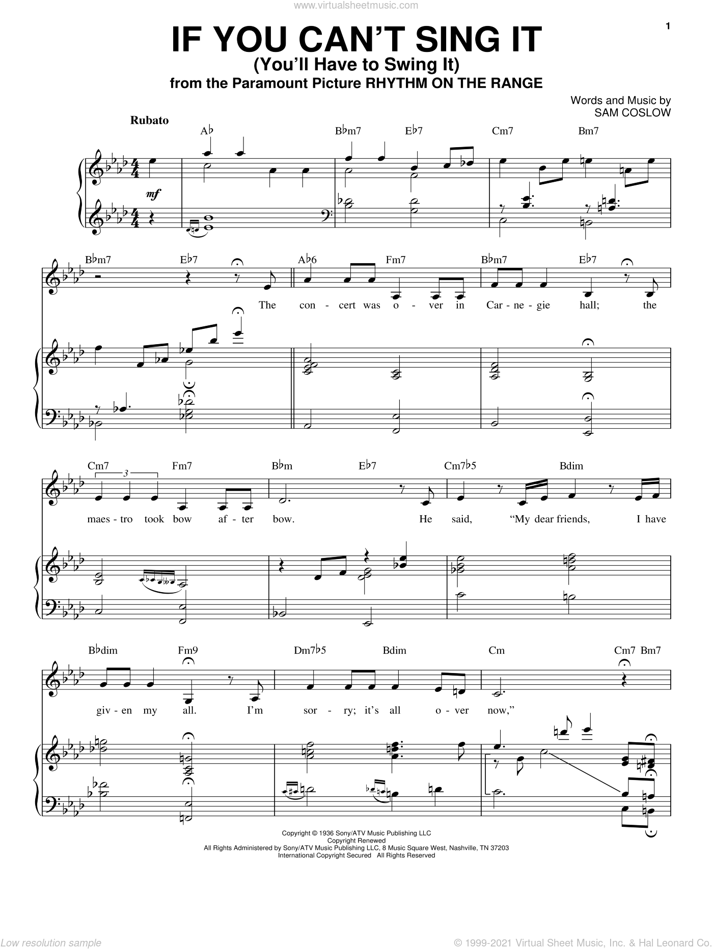 If You Can't Sing It (You'll Have To Swing It) sheet music for voice and piano by Sam Coslow, Ella Fitzgerald and Nikki Yanofsky. Score Image Preview.