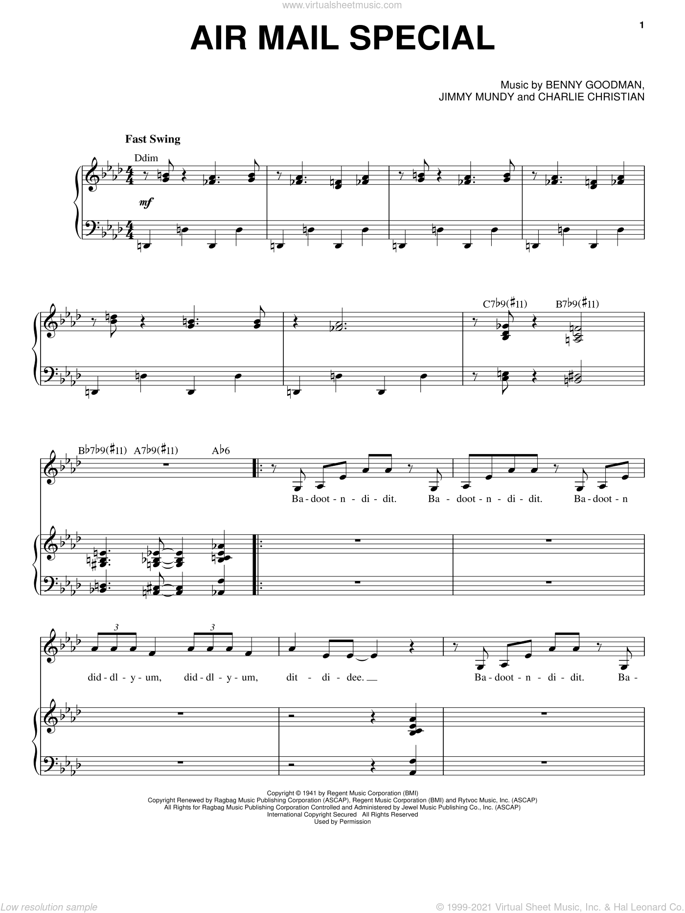 Air Mail Special sheet music for voice and piano by Nikki Yanofsky, Benny Goodman, Charlie Christian and Jimmy Mundy, intermediate skill level