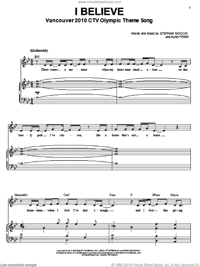 I Believe sheet music for voice and piano by Nikki Yanofsky, Alan Frew and Stephan Moccio, intermediate skill level