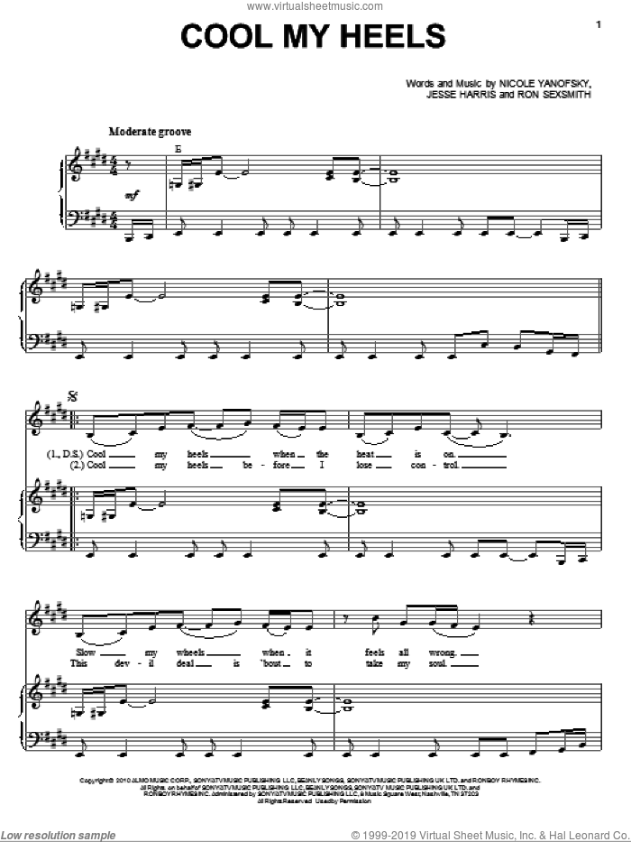 Cool My Heels sheet music for voice and piano by Nikki Yanofsky and Ron Sexsmith, intermediate
