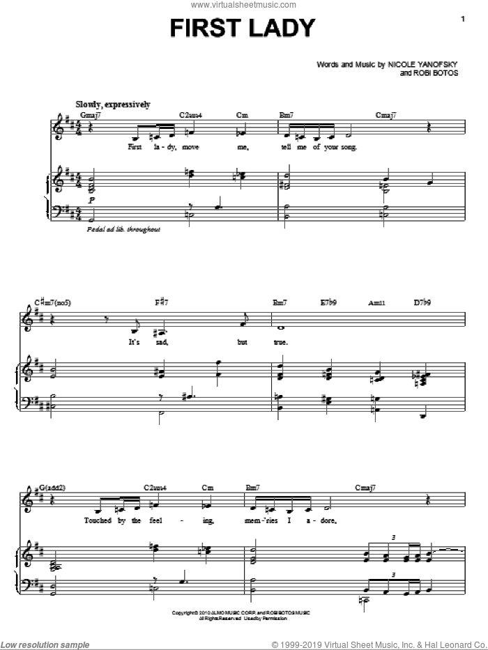 First Lady sheet music for voice and piano by Nikki Yanofsky