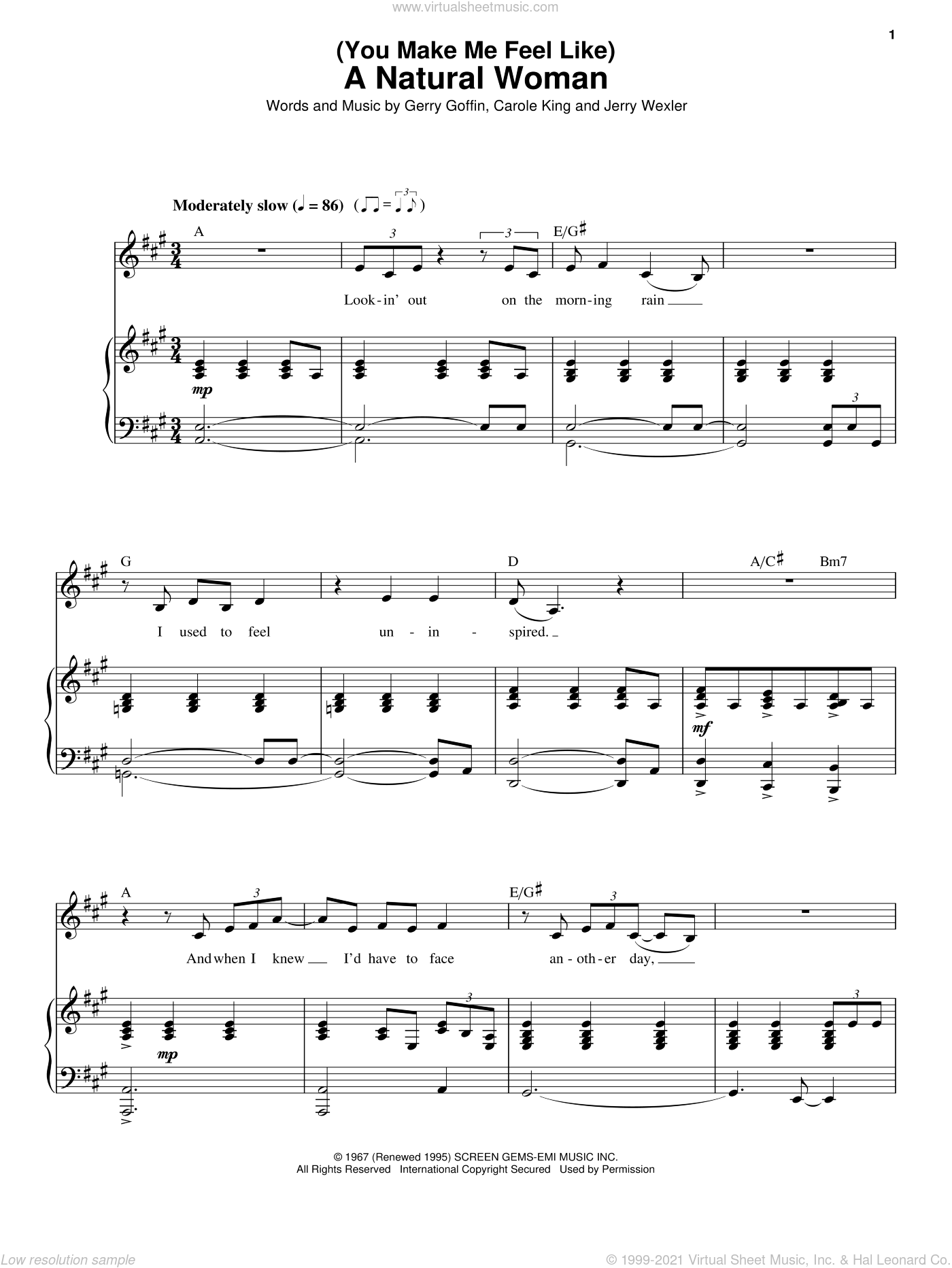 (You Make Me Feel Like) A Natural Woman sheet music for voice and piano by Carole King, Aretha Franklin, Gerry Goffin and Jerry Wexler, intermediate skill level