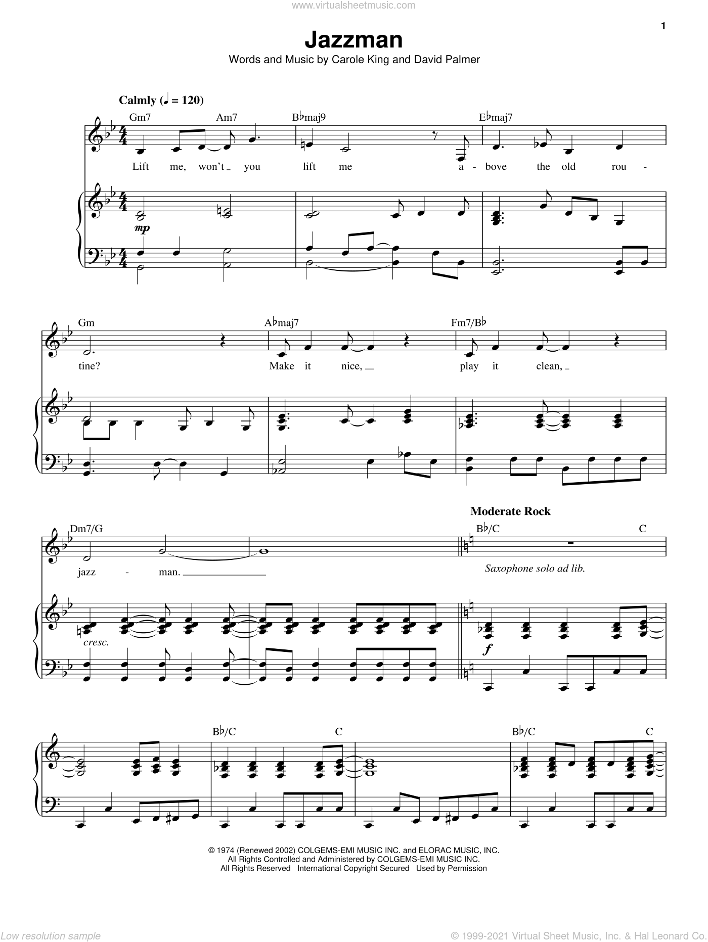 Jazzman sheet music for voice and piano by Carole King and David Palmer, intermediate skill level