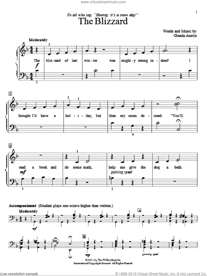 The Blizzard sheet music for piano solo (elementary) by Glenda Austin. Score Image Preview.