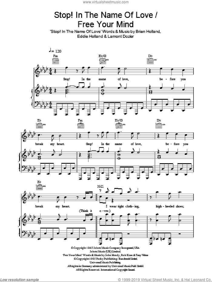 Stop! In The Name Of Love / Free Your Mind sheet music for voice, piano or guitar by Tony Vickers, East 17, Glee Cast, Miscellaneous, Brian Holland, Eddie Holland and Lamont Dozier. Score Image Preview.