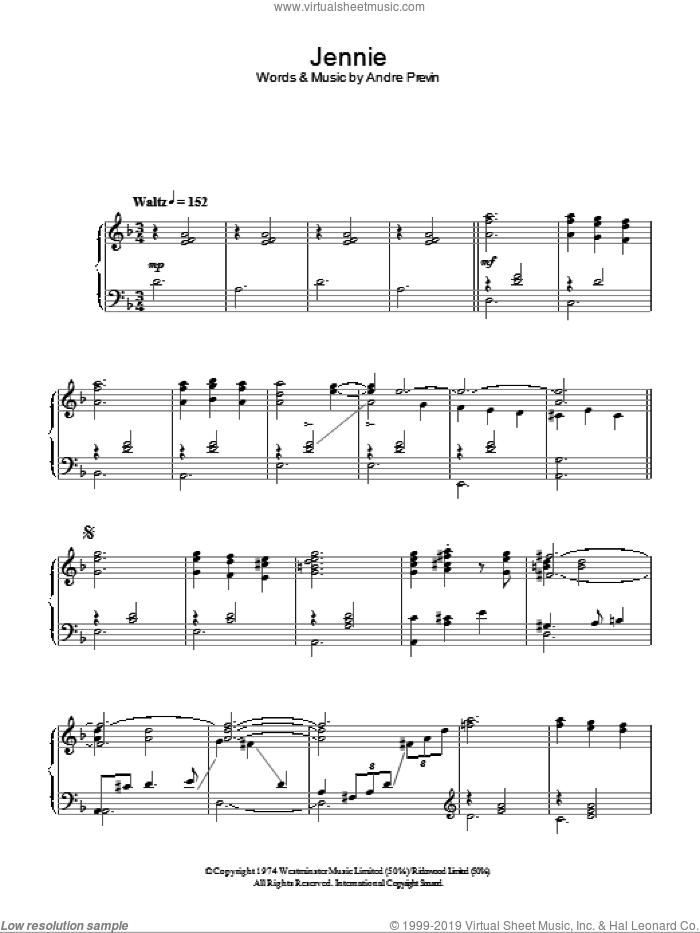 Jennie (Jennie Churchill Theme) sheet music for voice, piano or guitar by Andre Previn, intermediate skill level