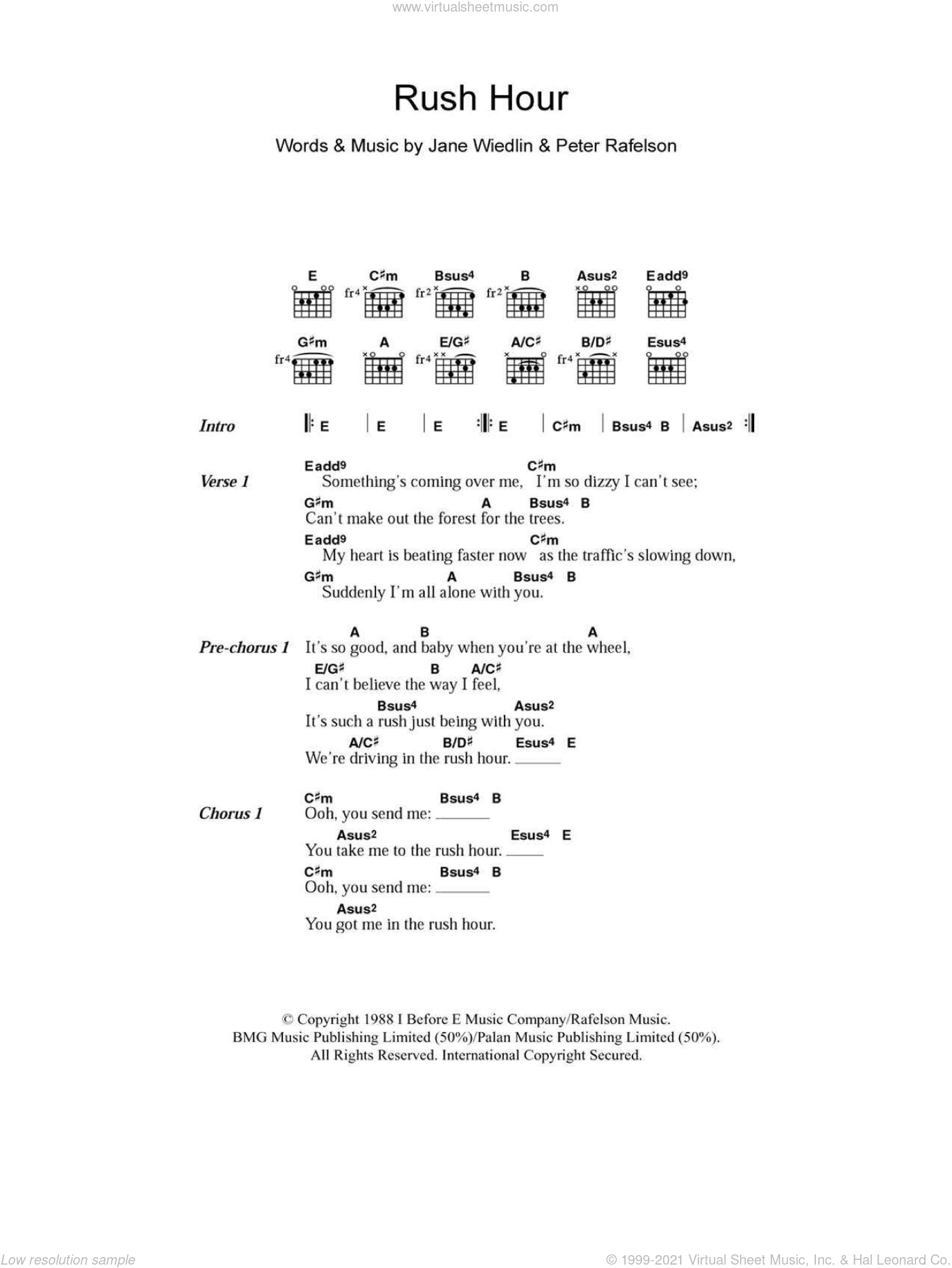 Rush Hour sheet music for guitar (chords) by Peter Rafelson. Score Image Preview.
