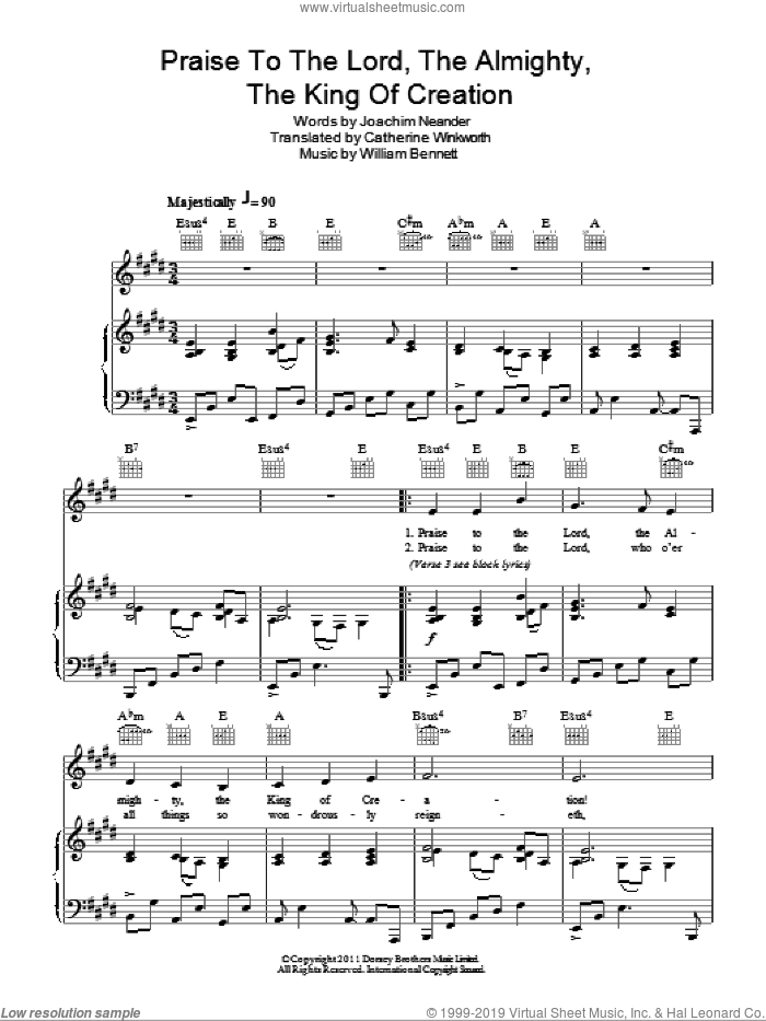 Praise The Lord, The Almighty, The King Of Creation sheet music for voice, piano or guitar by Joachim Neander and Catherine Winkworth. Score Image Preview.