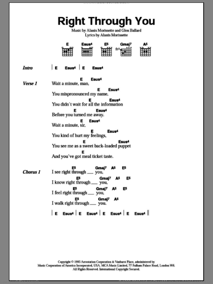 Right Through You sheet music for guitar (chords) by Glen Ballard and Alanis Morissette. Score Image Preview.
