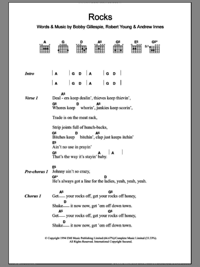 Rocks sheet music for guitar (chords) by Primal Scream, Andrew Innes, Bobby Gillespie and Robert Young, intermediate. Score Image Preview.