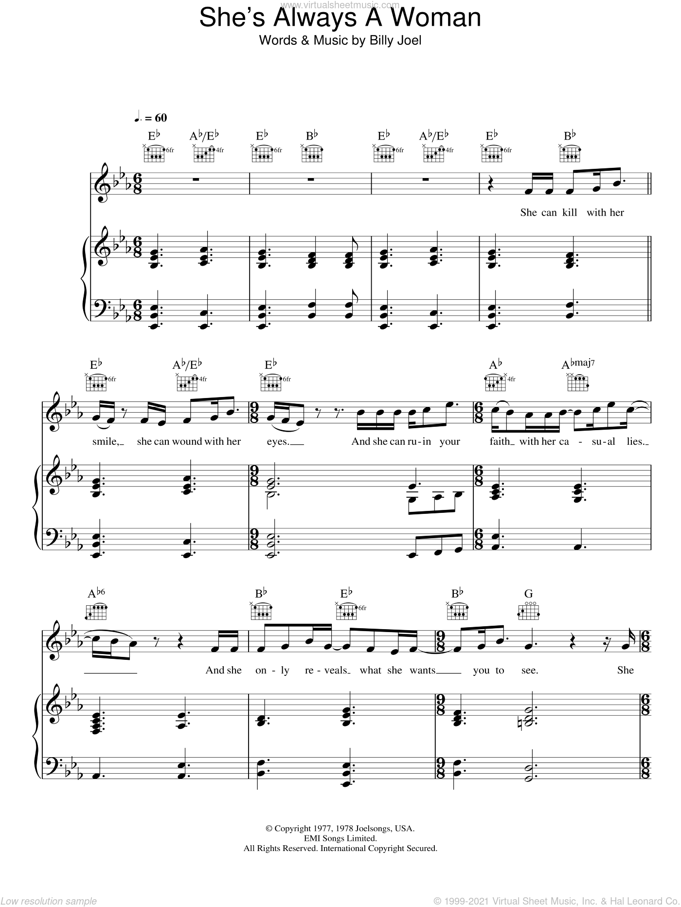 She's Always A Woman sheet music for voice, piano or guitar by Fyfe Dangerfield and Billy Joel, intermediate voice, piano or guitar. Score Image Preview.